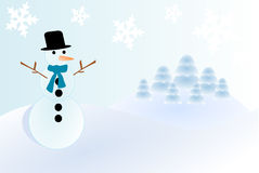 Merry Christmas. Christmas illustration with a snowman and a beautiful landscape (vector vector illustration