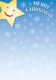 Merry christmas. A gradient light blue background with a laughing star Stock Photos