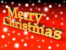 Merry christmas. Snowy Merry Christmas golden sign over red background Stock Photos
