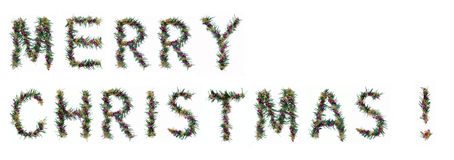 Merry christmas. Written by decorative letters royalty free stock photos