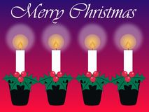 Merry christmas. Card with four candles Stock Photography
