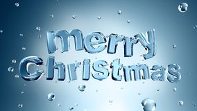 Merry Christmas. Wording form by ais surrounded by waterdroplet Stock Photo