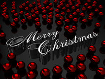 Merry Christmas. This is a hi resolution rendering with metallic Christmas letters and red balls Royalty Free Stock Image