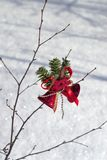 Merry Christmas. Christmas-tree decorations on dormant winter little birch stock photography