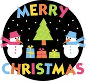 Merry christmas. Two snowman and Christmas tree with gifts Stock Images