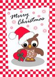Merry christmas. Card with a cute little owl Stock Photo