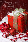 Merry Christmas. Red and white Merry Christmas card Royalty Free Stock Photos