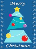 Merry Christmas. Digital illustration of a colored Christmas ticket with the tree of Christmas Stock Photo