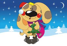 Merry Christmas. Dog looks like Santa Claus and winter landscape on the background Royalty Free Stock Photo