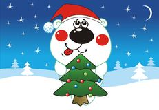 Merry Christmas. White Bear looks like Santa Claus and winter landscape on the background Stock Image