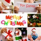 Merry Christmas. Collage on the theme of Christmas: Christmas tree, kids, gifts Stock Photo