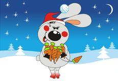 Merry Christmas. Rabbit looks like Santa Claus and winter landscape on the background Stock Photography