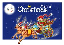 Merry Christmas. Colored illustration of a happy child on the sleigh that wishes Merry Christmas Stock Photos