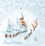 Merry Christmas!. Christmas illustration with snowy landscape and church Royalty Free Stock Images