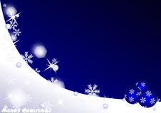 Merry Christmas. Card with stars, snow and balls Royalty Free Stock Photos
