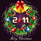Merry christmas, 2011, christmas wreath. Happy new year Stock Photo