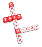 Merry Christmas 2012. Greeting crossword on white background 3d render Stock Image
