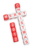 Merry Christmas 2012. Greeting crossword on white background 3d render Royalty Free Illustration