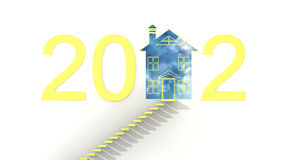 Merry Christmas 2012. Proposal for the real estate market in the new year! new homes-new prices, make his dream come true Royalty Free Stock Photo