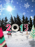 Merry christmas 2013. Logo 2013  with graphic snow paper trees and photo background Stock Photos