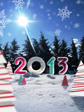 Merry christmas 2013. Logo 2013  with graphic snow paper trees and photo background Stock Photography