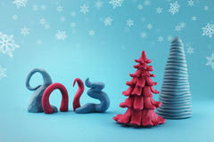 Merry christmas 2013. Logo 2013 with plasticine, trees and cyan background royalty free illustration