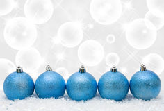 Merry Christmas. Christmas ornaments in the snow with copy space, Merry Christmas stock images
