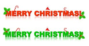 Merry christmas. Headline text in red and green with holly decoration. specially for shopping web sites Stock Photography