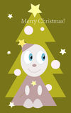 Merry Christmas!. Funny little man on christmas tree background Vector Illustration