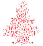 Merry christmas. Typographic composition in form of a christmas tree Royalty Free Stock Photos
