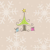 Merry Christmas. Tree, two gifts  greeting card and vector illustration Stock Photography