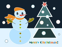 Merry Christmas. Snowman and Christmas tree on dark sky and blue snow background Vector Illustration