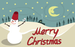 Merry christmas. Funny card with snowman and bird Royalty Free Stock Photos