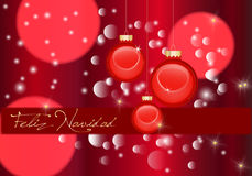 Merry Christmas. Christmas abstract background in red in spanish stock illustration