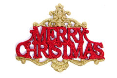 Merry Christmas. In red glitter letters emclosed by gold filigree Royalty Free Stock Photography