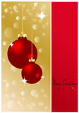 Merry christmas. Red christmas background with shiny balls stock illustration