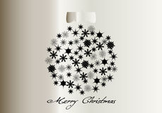 Merry Christmas. Christmas abstract background with silver decorative ball vector illustration