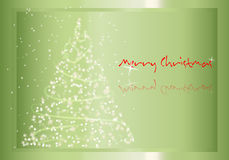 Merry Christmas. Green background with Christmas tree decoration vector illustration