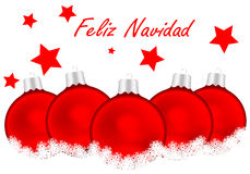 Merry Christmas. Card in Spanish with white background and red balls royalty free illustration