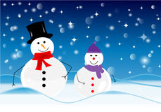 Merry Christmas. Christmas landscape with two snowmen royalty free illustration