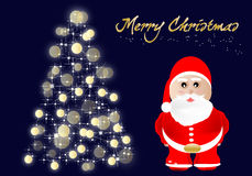 Merry Christmas. Christmas background with decorated trees and Santa Claus stock illustration