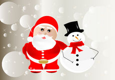 Merry Christmas. Christmas background with Santa Claus and a snowman stock illustration