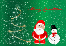 Merry Christmas. Christmas card with Santa Claus and a snowman vector illustration