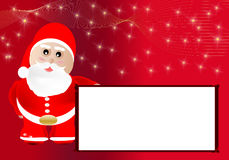 Merry Christmas. Christmas card with Santa Claus and white poster stock illustration
