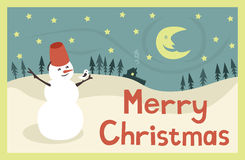 Merry christmas. Funny card with snowman and bird Stock Photo