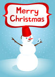 Merry christmas. Funny card with snowman and bird Stock Image