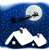 Merry Christmas. Illustration of santa claus and reindeer sleigh Stock Photos