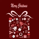 Merry Christmas. Illustration of christmas present composed of chirstmas elements Royalty Free Stock Photography