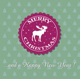 Merry Christmas. Colorful background with moose symbol and snowflakes. Christmas and New Year card Stock Illustration