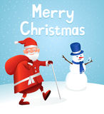 Merry christmas. Santa Claus and Snowman - Christmas Card Royalty Free Stock Image